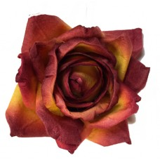 "2"" Paper Roses-Burgundy/Gold-12/bag"